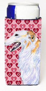 Carolines Treasures SS4475MUK Borzoi Hearts Love And Valentines Day Portrait Michelob Ultra bottle sleeves For Slim Cans - 12 oz.