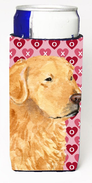 Carolines Treasures SS4476MUK Golden Retriever Hearts Love Valentines Day Michelob Ultra bottle sleeves For Slim Cans - 12 oz.