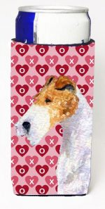 Carolines Treasures SS4478MUK Fox Terrier Hearts Love And Valentines Day Portrait Michelob Ultra bottle sleeves For Slim Cans - 12 oz.