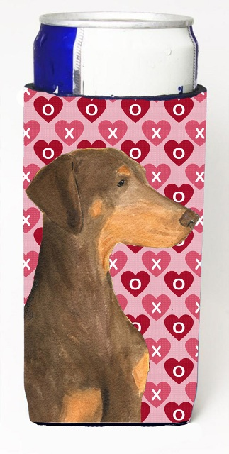 Carolines Treasures SS4479MUK Doberman Hearts Love And Valentines Day Portrait Michelob Ultra bottle sleeves For Slim Cans - 12 oz.