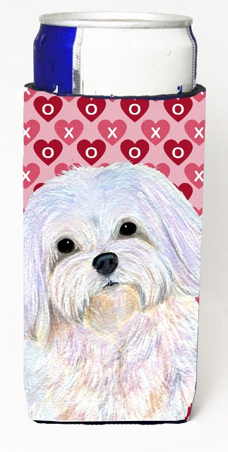 Carolines Treasures SS4482MUK Maltese Hearts Love And Valentines Day Portrait Michelob Ultra bottle sleeves For Slim Cans - 12 oz.