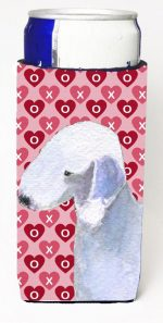 Carolines Treasures SS4483MUK Bedlington Terrier Hearts Love And Valentines Day Portrait Michelob Ultra bottle sleeves For Slim Cans - 12 oz.