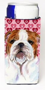 Carolines Treasures SS4484MUK Bulldog English Hearts Love Valentines Day Michelob Ultra bottle sleeves For Slim Cans - 12 oz.
