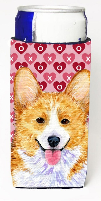 Carolines Treasures SS4486MUK Corgi Hearts Love And Valentines Day Portrait Michelob Ultra bottle sleeves For Slim Cans - 12 oz.