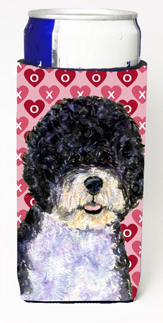 Carolines Treasures SS4490MUK Portuguese Water Dog Hearts Love Valentines Day Michelob Ultra bottle sleeves For Slim Cans - 12 oz.