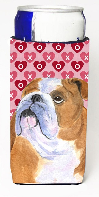 Carolines Treasures SS4491MUK Bulldog English Hearts Love Valentines Day Michelob Ultra bottle sleeves For Slim Cans - 12 oz.