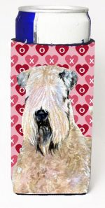 Carolines Treasures SS4493MUK Wheaten Terrier Soft Coated Hearts Love Valentines Michelob Ultra bottle sleeves For Slim Cans - 12 oz.