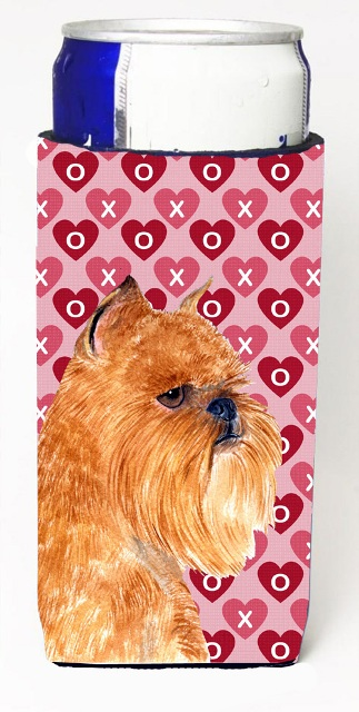 Carolines Treasures SS4494MUK Brussels Griffon Hearts Love And Valentines Day Portrait Michelob Ultra bottle sleeves For Slim Cans - 12 oz.