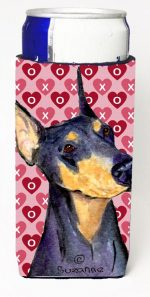Carolines Treasures SS4495MUK Doberman Hearts Love And Valentines Day Portrait Michelob Ultra bottle sleeves For Slim Cans - 12 oz.