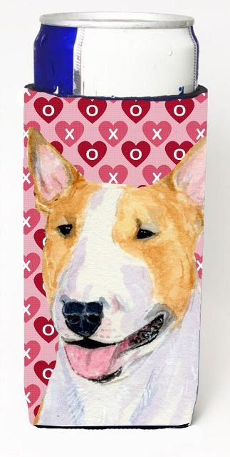 Carolines Treasures SS4496MUK Bull Terrier Hearts Love And Valentines Day Portrait Michelob Ultra bottle sleeves For Slim Cans - 12 oz.