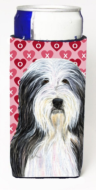 Carolines Treasures SS4497MUK Bearded Collie Hearts Love And Valentines Day Portrait Michelob Ultra bottle sleeves For Slim Cans - 12 oz.