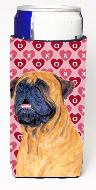 Carolines Treasures SS4520MUK Mastiff Hearts Love And Valentines Day Portrait Michelob Ultra bottle sleeves For Slim Cans - 12 oz.