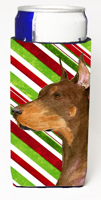 Carolines Treasures SS4537MUK Doberman Candy Cane Holiday Christmas Michelob Ultra s For Slim Cans - 12 oz.