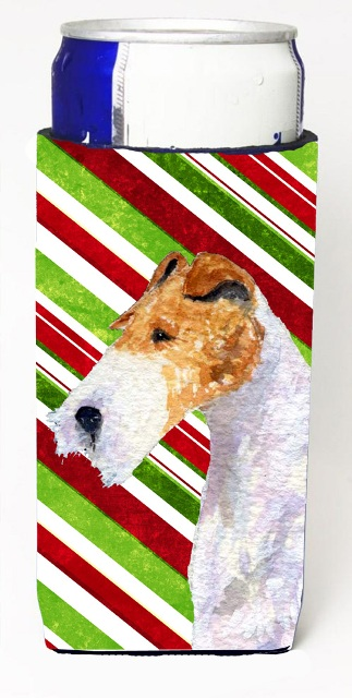 Carolines Treasures SS4547MUK Fox Terrier Candy Cane Holiday Christmas Michelob Ultra s For Slim Cans - 12 oz.