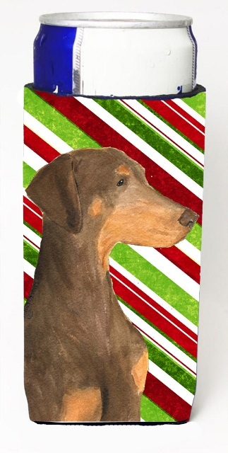 Carolines Treasures SS4548MUK Doberman Candy Cane Holiday Christmas Michelob Ultra s For Slim Cans - 12 oz.