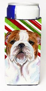 Carolines Treasures SS4553MUK Bulldog English Candy Cane Holiday Christmas Michelob Ultra s For Slim Cans - 12 oz.