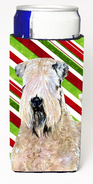Carolines Treasures SS4562MUK Wheaten Terrier Soft Coated Candy Cane Holiday Christmas Michelob Ultra s For Slim Cans - 12 oz.