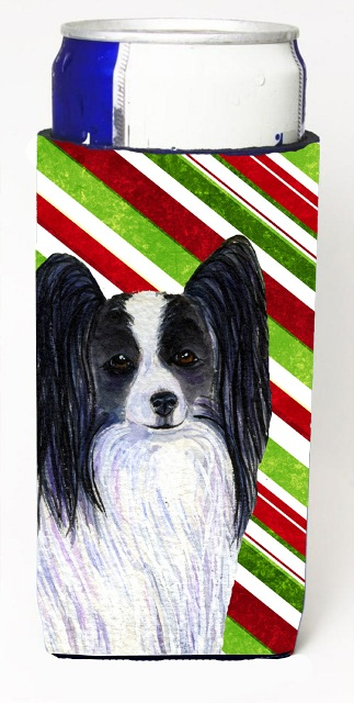Carolines Treasures SS4574MUK Papillon Candy Cane Holiday Christmas Michelob Ultra s For Slim Cans - 12 oz.