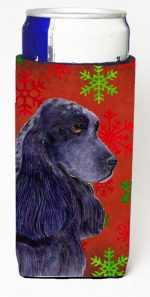 Carolines Treasures SS4678MUK Cocker Spaniel Red Green Snowflakes Christmas Michelob Ultra bottle sleeves For Slim Cans - 12 oz.