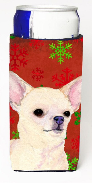 Carolines Treasures SS4679MUK Chihuahua Red And Green Snowflakes Holiday Christmas Michelob Ultra bottle sleeves For Slim Cans - 12 oz.