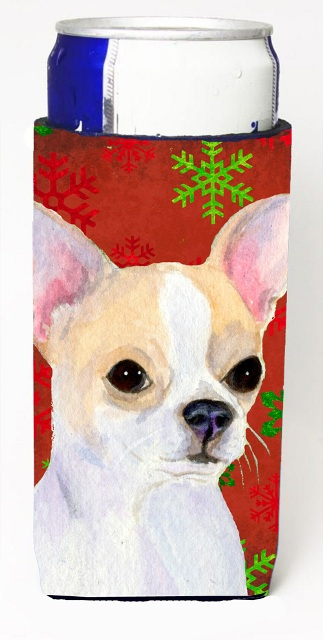 Carolines Treasures SS4681MUK Chihuahua Red And Green Snowflakes Holiday Christmas Michelob Ultra bottle sleeves For Slim Cans - 12 oz.