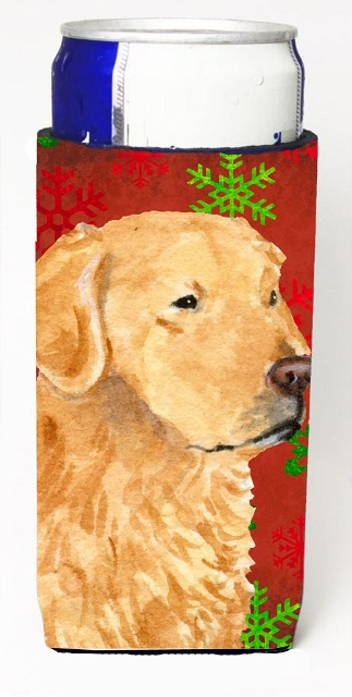 Carolines Treasures SS4683MUK Golden Retriever Red Green Snowflake Holiday Christmas Michelob Ultra bottle sleeves For Slim Cans - 12 oz.