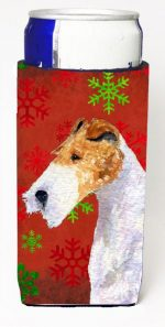 Carolines Treasures SS4685MUK Fox Terrier Red And Green Snowflakes Holiday Christmas Michelob Ultra bottle sleeves For Slim Cans - 12 oz.