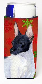 Carolines Treasures SS4687MUK Rat Terrier Red And Green Snowflakes Holiday Christmas Michelob Ultra bottle sleeves For Slim Cans - 12 oz.