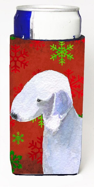 Carolines Treasures SS4690MUK Bedlington Terrier Red And Green Snowflakes Holiday Christmas Michelob Ultra bottle sleeves For Slim Cans - 12 oz.