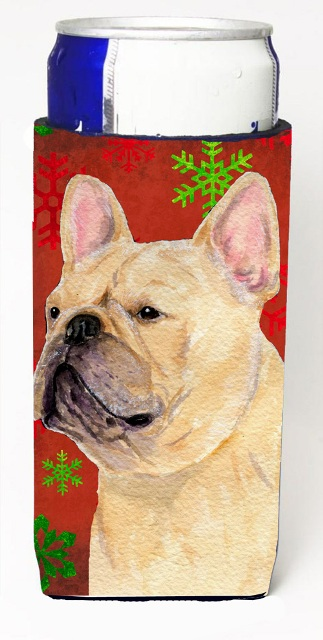 Carolines Treasures SS4692MUK French Bulldog Red And Green Snowflakes Holiday Christmas Michelob Ultra bottle sleeves For Slim Cans - 12 oz.