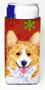 Carolines Treasures SS4693MUK Corgi Red And Green Snowflakes Holiday Christmas Michelob Ultra bottle sleeves For Slim Cans - 12 oz.
