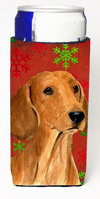 Carolines Treasures SS4694MUK Dachshund Red And Green Snowflakes Holiday Christmas Michelob Ultra bottle sleeves For Slim Cans - 12 oz.