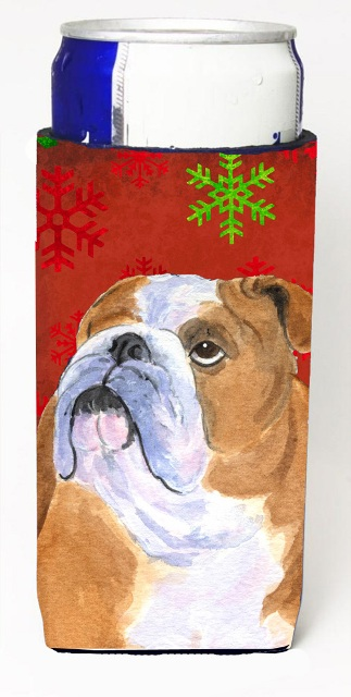 Carolines Treasures SS4698MUK Bulldog English Red And Green Snowflakes Holiday Christmas Michelob Ultra bottle sleeves For Slim Cans - 12 oz.