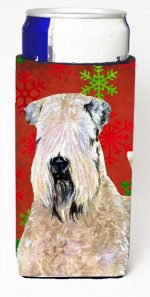 Carolines Treasures SS4700MUK Wheaten Terrier Soft Coated Red Snowflakes Holiday Christmas Michelob Ultra bottle sleeves For Slim Cans - 12 oz.