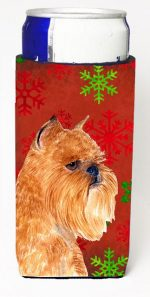 Carolines Treasures SS4701MUK Brussels Griffon Red And Green Snowflakes Holiday Christmas Michelob Ultra bottle sleeves For Slim Cans - 12 oz.