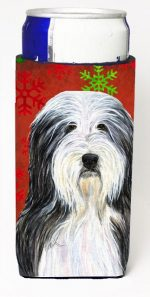 Carolines Treasures SS4704MUK Bearded Collie Red And Green Snowflakes Holiday Christmas Michelob Ultra bottle sleeves For Slim Cans - 12 oz.