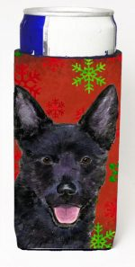 Carolines Treasures SS4705MUK Australian Kelpie Red Green Snowflakes Christmas Michelob Ultra bottle sleeves For Slim Cans - 12 oz.