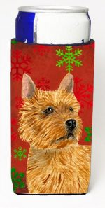 Carolines Treasures SS4706MUK Norwich Terrier Red And Green Snowflakes Holiday Christmas Michelob Ultra bottle sleeves For Slim Cans - 12 oz.
