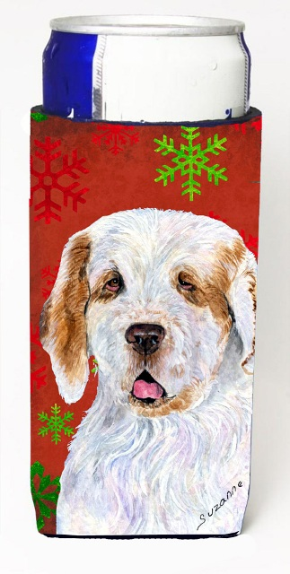 Carolines Treasures SS4707MUK Clumber Spaniel Red And Green Snowflakes Holiday Christmas Michelob Ultra bottle sleeves For Slim Cans - 12 oz.
