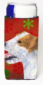 Carolines Treasures SS4711MUK Jack Russell Terrier Red Green Snowflakes Holiday Christmas Michelob Ultra bottle sleeves For Slim Cans - 12 oz.