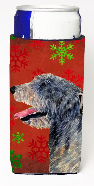 Carolines Treasures SS4713MUK Irish Wolfhound Red And Green Snowflakes Holiday Christmas Michelob Ultra bottle sleeves For Slim Cans - 12 oz.