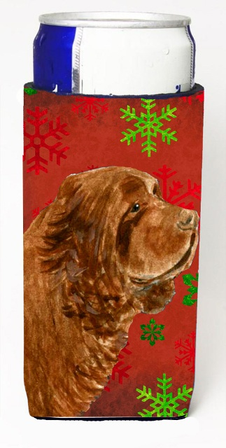 Carolines Treasures SS4717MUK Sussex Spaniel Red Green Snowflake Holiday Christmas Michelob Ultra bottle sleeves For Slim Cans - 12 oz.
