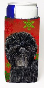 Carolines Treasures SS4718MUK Affenpinscher Red Green Snowflakes Christmas Michelob Ultra bottle sleeves For Slim Cans - 12 oz.