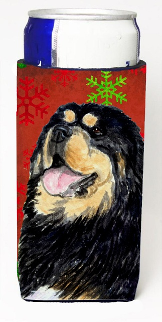 Carolines Treasures SS4719MUK Tibetan Mastiff Red Green Snowflake Christmas Michelob Ultra bottle sleeves For Slim Cans - 12 oz.