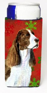 Carolines Treasures SS4720MUK Springer Spaniel Red And Green Snowflakes Holiday Christmas Michelob Ultra bottle sleeves For Slim Cans - 12 oz.