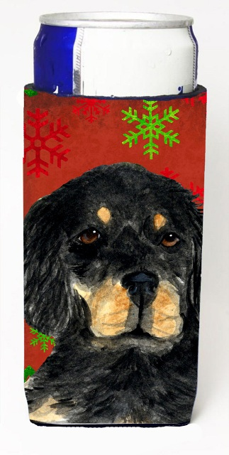 Carolines Treasures SS4722MUK Gordon Setter Red Green Snowflakes Christmas Michelob Ultra bottle sleeves For Slim Cans - 12 oz.