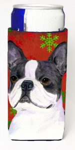 Carolines Treasures SS4723MUK Boston Terrier Red Green Snowflakes Christmas Michelob Ultra bottle sleeves For Slim Cans - 12 oz.