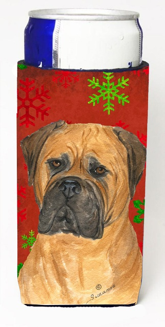 Carolines Treasures SS4724MUK Bullmastiff Red And Green Snowflakes Holiday Christmas Michelob Ultra bottle sleeves For Slim Cans - 12 oz.