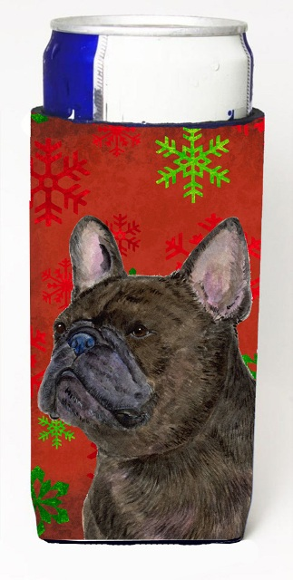 Carolines Treasures SS4726MUK French Bulldog Red And Green Snowflakes Holiday Christmas Michelob Ultra bottle sleeves For Slim Cans - 12 oz.