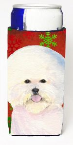 Carolines Treasures SS4733MUK Bichon Frise Red And Green Snowflakes Holiday Christmas Michelob Ultra bottle sleeves For Slim Cans - 12 oz.